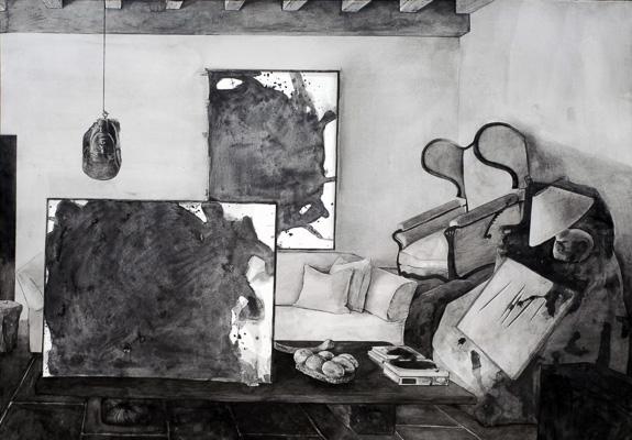 Dane Patterson | Hypothetical Arrangement for the interior design of Axel Vervoordt #4, 2014 | Graphite on paper