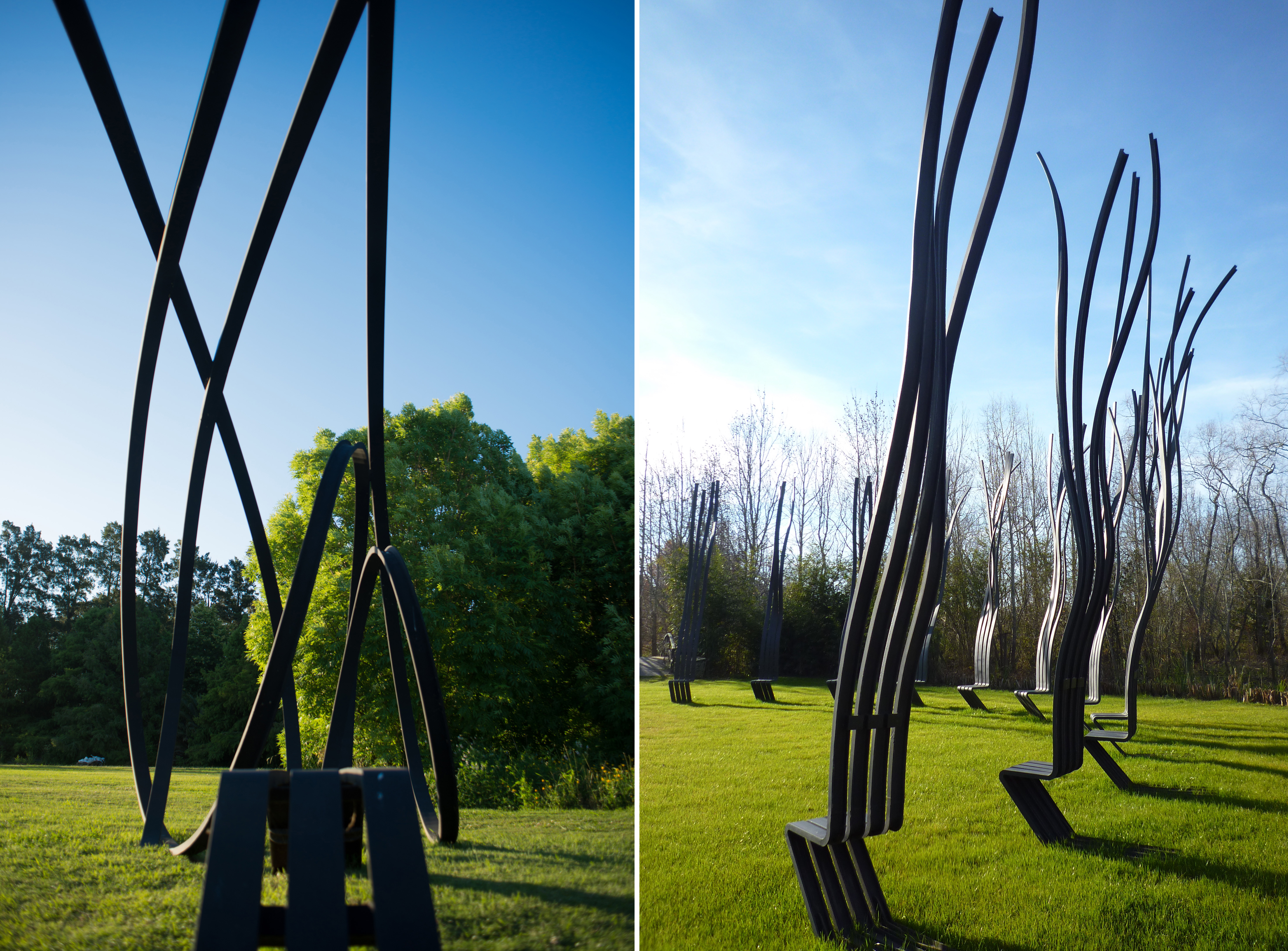 "Pablo Reinoso Works - Left: ""Talking Bench 188"" - Right: Silla de la Aromonia"