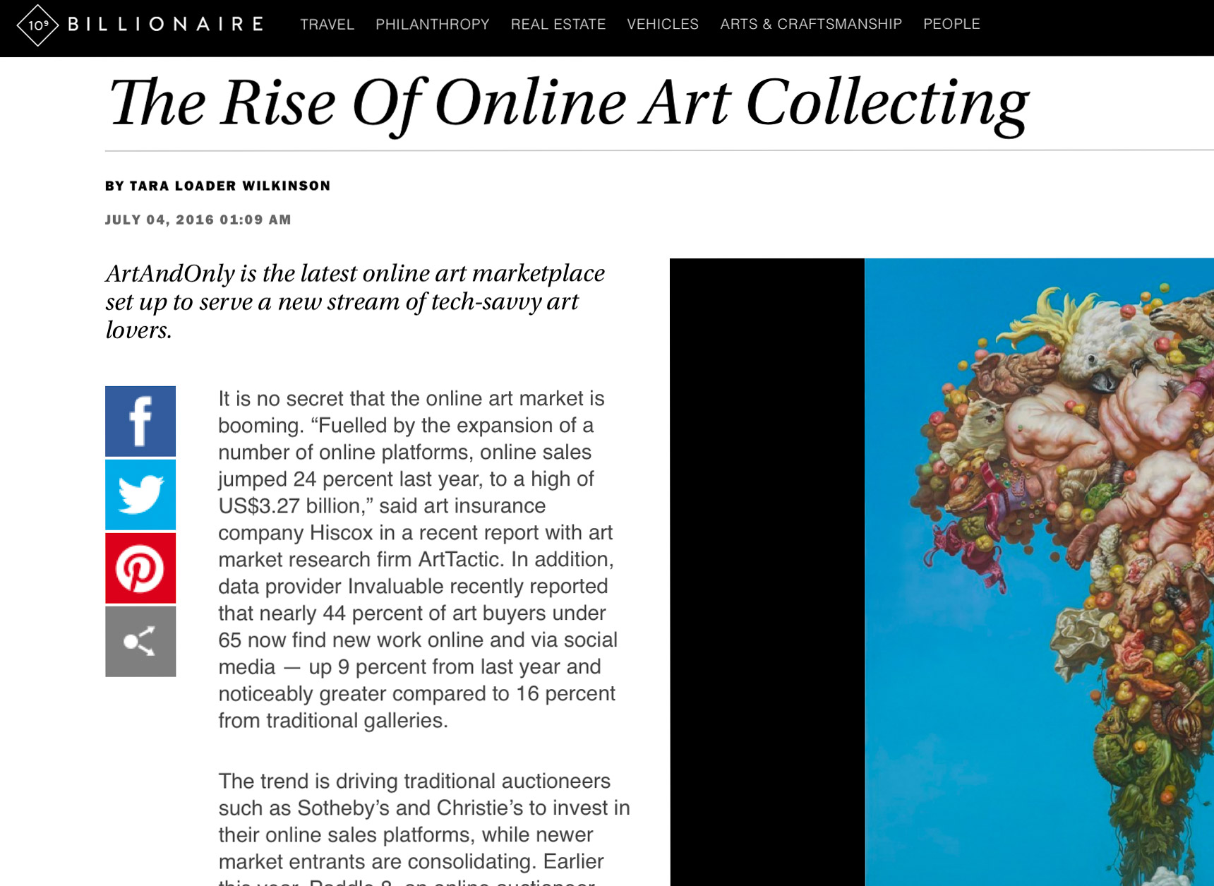 BILLIONAIRE.COM about the Rise of Online Art Collecting